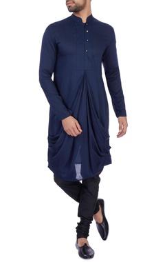 Sadan Pande - Men Royal blue modal cotton draped kurta