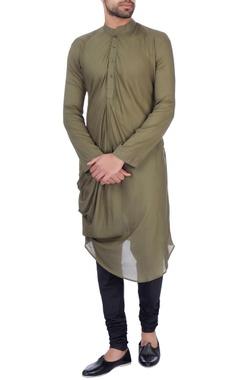 Sadan Pande - Men Olive modal cotton draped kurta
