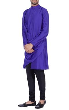 Sadan Pande - Men Dark blue modal cotton  draped kurta