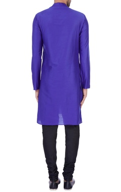 Dark blue modal cotton  draped kurta