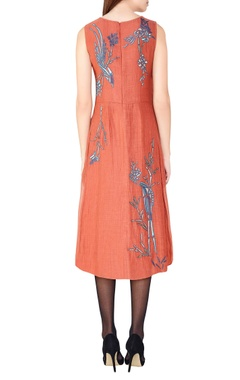 coral hand-embroidered midi dress