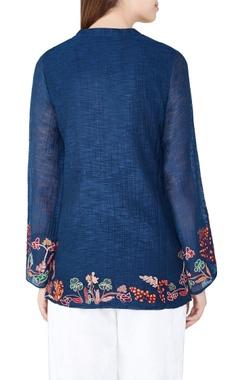 Blue botanical hand-woven silk tunic