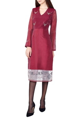 Wine hand-woven silk a-line dress