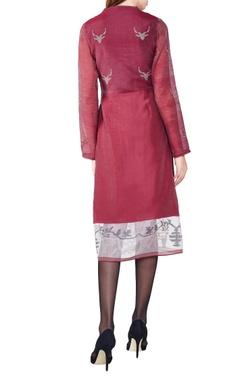 wine hand-woven silk a-line dress