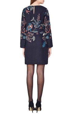 Black hand-woven silk floral dress