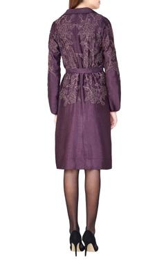 plum hand woven silk overlap jacket