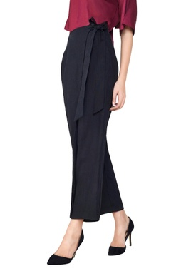 Black linen wrap-around trousers