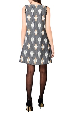 grey handwoven cotton a-line short dress