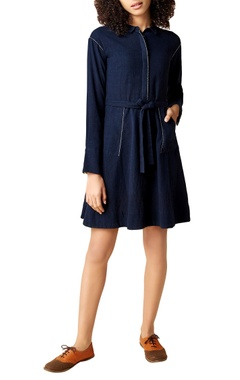 navy blue hanwoven cotton a-line dress