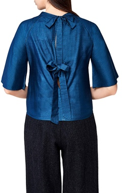 blue handwoven silk tie-up blouse