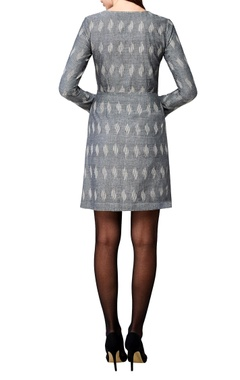 grey handwoven cotton a-line dress