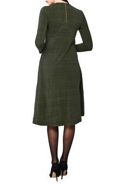 olive handwoven cotton spandex a-line dress
