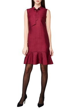 plum handwoven cotton spandex midi dress