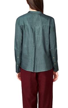 olive handwoven silk mandarin collar shirt