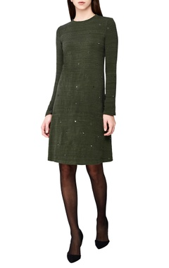 olive green hand-woven a-line dress