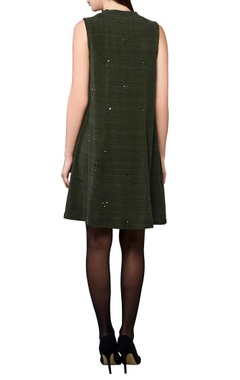 olive green sleeveless a-line dress
