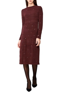 plum hand woven fitted midi dress