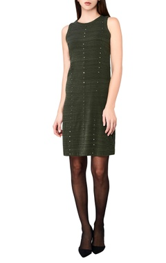 olive green hand-woven midi dress