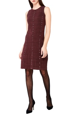 plum hand-woven midi dress