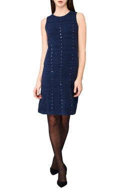 indigo hand-woven mirror work dress