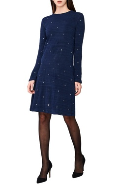 indigo hand-woven fitted midi dress