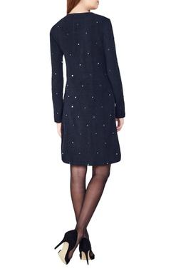 black hand-woven stretch a-line  dress