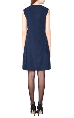 navy blue hand-woven a-line dress