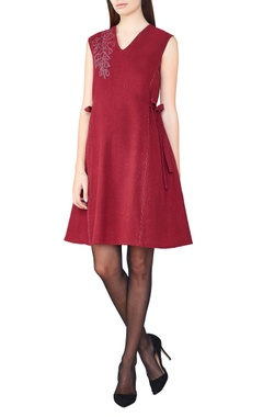 red hand-woven a-line dress