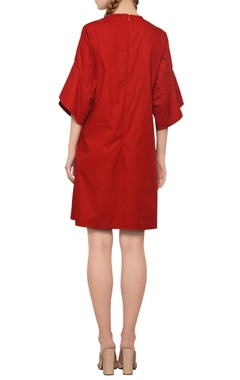 brick red pleated trapeze dress