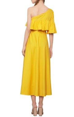 Dandelion yellow ruffled dress
