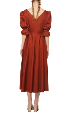 rustic orange button detailed dress