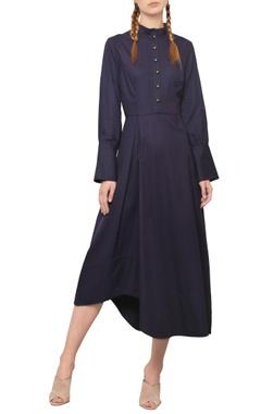 Manika Nanda Navy blue asymmetric midi dress