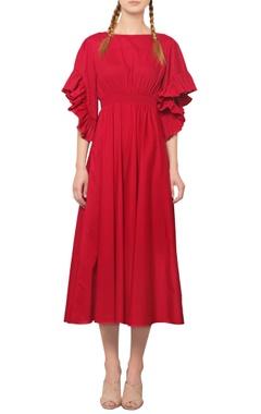 Manika Nanda Red ruffled midi dress