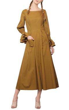 Manika Nanda Dijon mustard ruffled dress