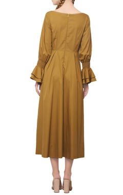 Dijon mustard ruffled dress