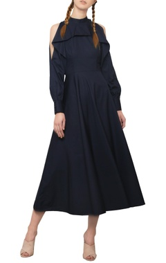Manika Nanda Navy blue ruffled maxi dress