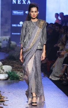 stone grey tie dye sari