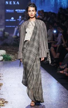 grey tartan linen hand-woven sari