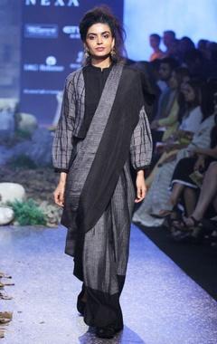 charcoal & grey hand-woven linen sari