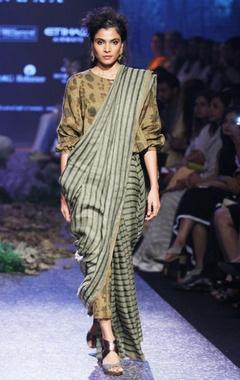 autumn green linen sari