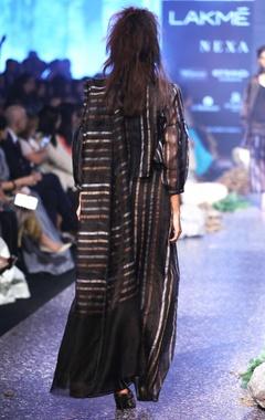 black stripe hand woven linen sari