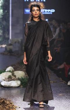 black linen & silk jamdani sari