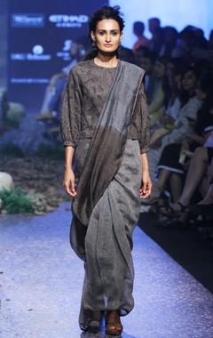 charcoal grey & black hand-woven linen sari