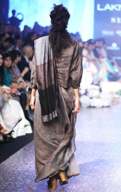 charcoal grey & black hand-woven linen sari