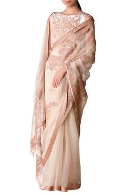pink bugle beadwork sari