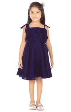 blue velvet polyester dress