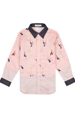 Blue & pink bird motif shirt