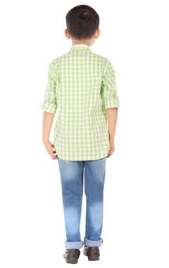 Green check print shirt