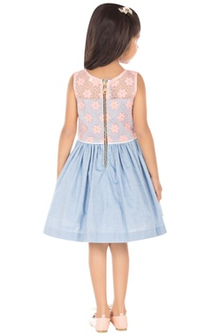 blue & pink embroidered dress