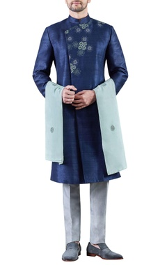 navy blue & grey embroidered raw silk sherwani with trousers